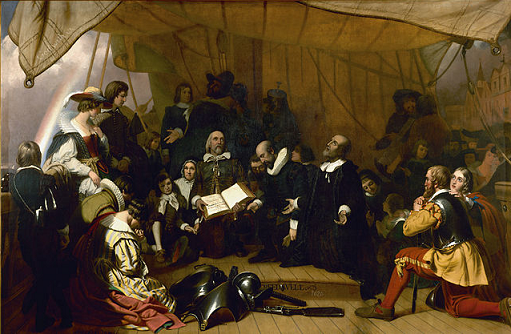 John Robinson speaks to the pilgrims before they leave for the Americas