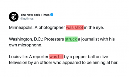 The New York Times was accused of siding with police because of ill-placed passive voice